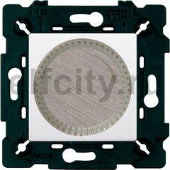 Диммер (светорегулятор) поворотный 40-500 Вт для ламп накаливания и галогенных 220В, никель/белый