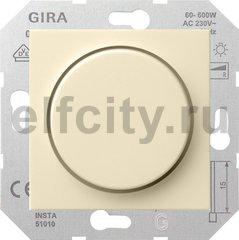 Диммер (светорегулятор) поворотный 60-600 Вт для ламп накаливания и галогенных 220B, пластик кремовый глянцевый