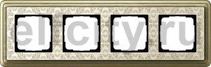 Рамка 4 поста, для горизонтального/вертикального монтажа, бронза/кремовый
