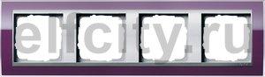 Рамка 4 поста, для горизонтального/вертикального монтажа, пластик прозрачный темно-фиолетовый-алюминий