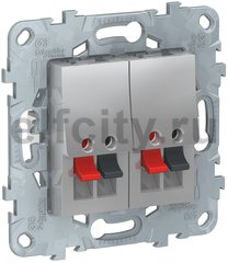 Розетка двойная для стерео-громкоговорителя, алюминий