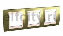 Рамка 3 поста, для горизонтального монтажа, золото/бежевый