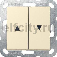 Выключатель управления жалюзи кнопочный, 10 А / 250 В, пластик кремовый глянцевый