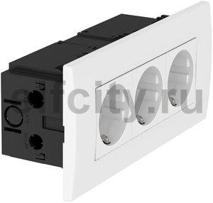 Укомплектованный розеточный блок AR45 (3xModul45,84x185x59 мм,белый)