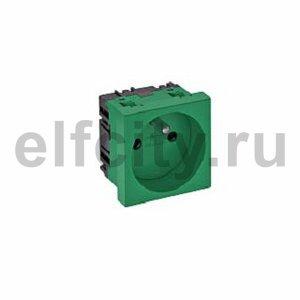 Розетка одинарная 0° франц. стандарт 250 В, 16A (зеленый)
