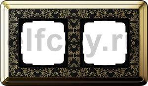Рамка 2 поста, для горизонтального/вертикального монтажа, латунь/черный