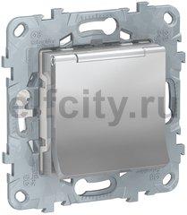 Розетка с заземляющими контактами, автоматические зажимы 16 А / 250 В, с откидной крышкой, алюминий