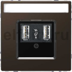 Зарядное USB устройство , 2,1А (2*1,05), мокко