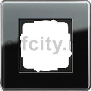 Рамка 1 пост, стекло черное Glass C