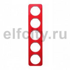 Рамка 5 постов, для горизонтального/вертикального монтажа, акрил красный/белый