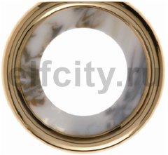 Рамка оконечная, горизонтальный/вертикальный монтаж, пластик под белый мрамор/золото 24 карата