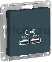 ATLASDESIGN USB РОЗЕТКА A+A, 5В/2,1 А, 2х5В/1,05 А, механизм, ИЗУМРУД