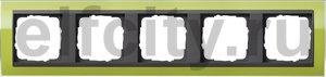 Рамка 5 постов, для горизонтального/вертикального монтажа, пластик прозрачный зеленый-антрацит