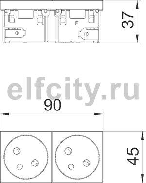 Розетка двойная 33° Modul45connect, франц. стандарт, 250 В, 16A (белый)