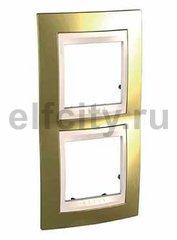 Рамка 2 поста, для вертикального монтажа, золото/бежевый