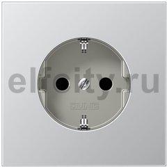 Розетка с заземляющими контактами 16 А / 250 В с защитой от детей, алюминий