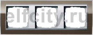 Рамка 3 поста, для горизонтального/вертикального монтажа, пластик прозрачный коричневый-алюминий