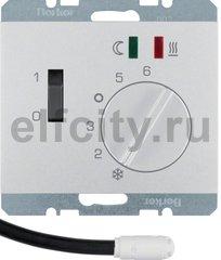 Регулятор температуры помещения пола с замыкающим контактом, с центральной панелью и светодиодом, K.5, цвет: алюминиевый лак