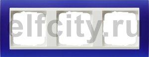 Рамка 3 поста, для горизонтального/вертикального монтажа, пластик матово-синий/глянц.белый