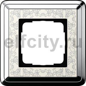 Рамка 1 пост, хром/кремовый