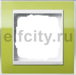 Рамка 1 пост, пластик прозрачный зеленый-глянц.белый