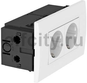 Укомплектованный розеточный блок AR45 (2xModul45,84x140x59 мм,белый)