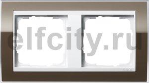 Рамка 2 поста, для горизонтального/вертикального монтажа, пластик прозрачный коричневый-глянц.белый