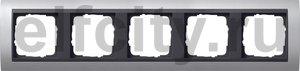Рамка 5 постов, для горизонтального/вертикального монтажа, алюминий-антрацит