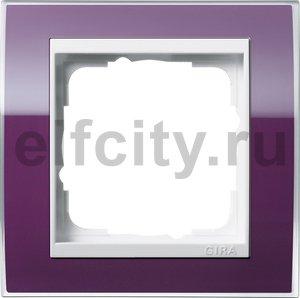 Рамка 1 пост, пластик прозрачный темно-фиолетовый-глянец белый