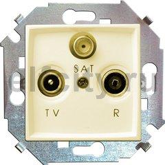 Розетка телевизионная одиночная FM / TV / SAT, диапазон частот от 5 до 2400 Mгц, слоновая кость