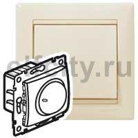 Диммер (светорегулятор) поворотный 40-400 Вт для ламп накаливания и галогенных 220В, пластик кремовый глянцевый