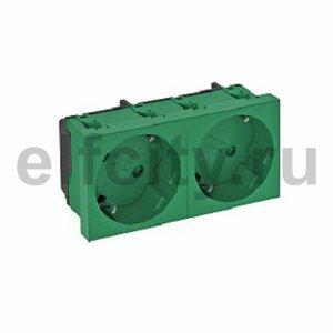 Розетка двойная 33° с з/к, 250 В, 16A (зеленый)