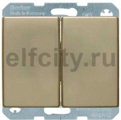 Выключатель двухклавишный, 10 А / 250 В, металл под золото
