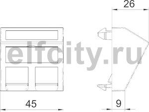 Корпус компьютерной розетки Modul45 тип B (наклонный) 45x45 мм (белый)
