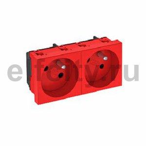 Розетка двойная 33° франц. стандарт, 250 В, 16A (красный)