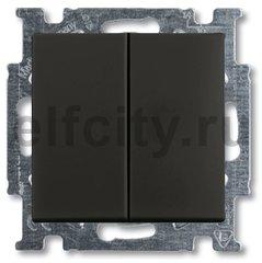 Выключатель двухклавишный, 10 А / 250 В, шато-черный