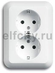Розетка двойная с заземляющими контактами 16 А / 250 В,не требует комплектации рамкой, для установки в одну монтажную коробку, пластик белый глянцевый