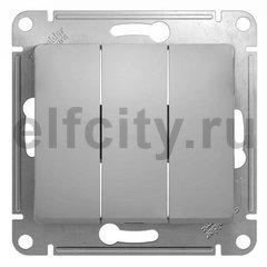 Выключатель трехклавишный 10 А / 250 В, алюминий