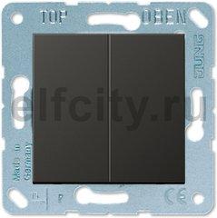 Выключатель двухклавишный, 10 А / 250 В, пластик антрацит