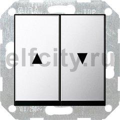 Выключатель управления жалюзи клавишный, 10 А / 250 В, хром