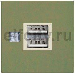 Механизм зарядного устройства USB, сила тока на выходе 2 х 1000 мА или 1 х 2000 мА, green olive