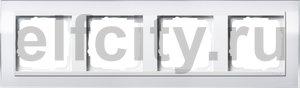 Рамка 4 поста, для горизонтального/вертикального монтажа, пластик прозрачный белый-глянц.белый