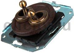 Выключатель тумблерныйный 4-х позиционный для внутреннего монтажа проходной (двухклавишный), венге