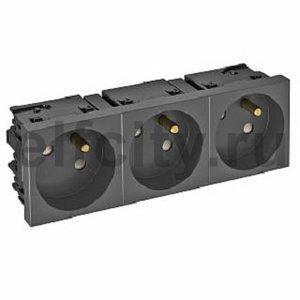 Розетка тройная 33° Modul45connect, франц. стандарт, 250 В, 16A (черный)