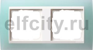 Рамка 2 поста, для горизонтального/вертикального монтажа, пластик матово-салатовый/глянц.белый