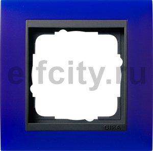Рамка 1 пост, пластик матово-синий/антрацит