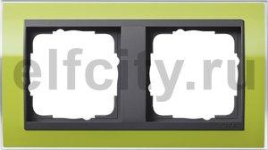 Рамка 2 поста, для горизонтального/вертикального монтажа, пластик прозрачный зеленый-антрацит