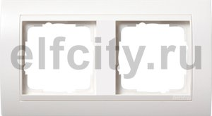 Рамка 2 поста, для горизонтального/ вертикального монтажа, пластик матово-белый/глянц.белый