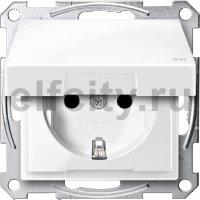Розетка с заземляющими контактами 16 А / 250 В, с откидной крышкой и уплотнительной мембраной IP44, пластик белый глянцевый