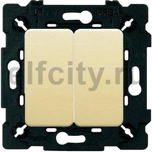 Выключатель двухклавишный, проходной (вкл/выкл с 2-х мест) 10 А / 250 В, бежевый